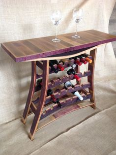 Wine Barrel Stave Wine and Port Rack Table by TheBarrelsmith, $500.00