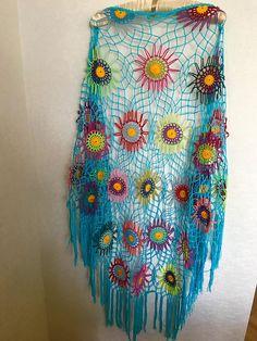 Colourfull Crochet Shawl  Boho Gypsy Shawl  Hippie Patchwork