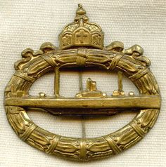 """Check out the deal on Nice WWI German Naval U-Boat Badge Manufactured in """"Cliche"""" Style Possibly Ca. at Flying Tiger Antiques Online Store"""