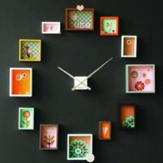 Use any old clock's inside and your favorite pics to make an empty wall a wall of art!