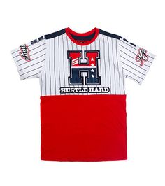 """HERITAGE Short sleeve tee Crew neck with ribbed collar Cotton for comfort Rhinestone detail on letter """"H"""" on front Solid back - that should be mine! Kids Clothes Boys, Toddler Boy Outfits, Toddler Boys, Tommy Hilfiger Outfit, Hilfiger Denim, Long Sleeve Tee Shirts, T Shirt, Boys Shirts, Tomboy Swag"""