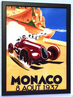 MONACO 1958 GRAND PRIX F1,MONTE CARLO Poster LARGE Framed Print Art Deco Gift  in Home & Garden, Home Décor, Posters & Prints | eBay