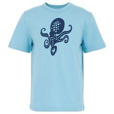 Blue Flocked Octopus Tee