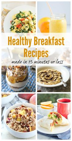 Healthy Breakfast Recipes in 15 minutes or Less including smoothies, parfaits, scrambles, oatmeal and more! by Patty PJ Breakfast Desayunos, Breakfast Dishes, Healthy Breakfast Recipes, Brunch Recipes, Healthy Snacks, Healthy Eating, Healthy Recipes, Breakfast Burritos, Breakfast Ideas
