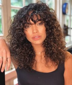 Naturally curly hair with bangs. Bangs for curly hair style Naturally curly 3a Curly Hair, Curly Hair Fringe, Curly Hair Styles, Curly Hair With Bangs, Haircuts For Curly Hair, Hairstyles With Bangs, Natural Hair Styles, Natural Hair Bangs, Girls With Curly Hair