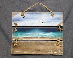 Wood Pallet Handpainted Beach Scene, Seascape horizon, ocean and sky, Distressed, Adirondack. Wood Pallet Art, Pallet Painting, Wood Pallets, Painting On Wood, Plage Art Mural, Art Plage, Palette Art, Cottage Art, Beach Wall Art