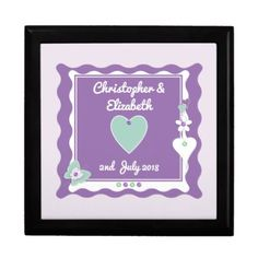Personalized names purple Wedding Jewelry Box - diy cyo customize create your own personalize