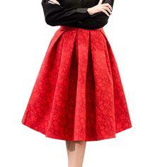 $ - Nice EXOTAO Autumn Retro High Waist Skirt Women Elegant Female Jacquard Mini Pleated Skirts Knee-Length Saias A-line Red Jupe 2017 - Buy it Now!
