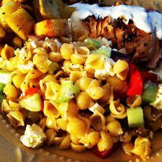 Greek Style Pasta Salad, Homemade Tzatziki & Lemon Potatoes #PastaSalads #Tzatziki #Lemons #Potatoes #Potato @NonSoloArancia