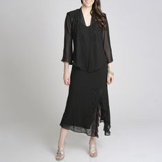 @Overstock - This flowing black dress from R Richards features light flutter sleeves and caviar bead detail. With a classy knee-high slit, this elegant skirt and jacket set offers comfort and fashion.http://www.overstock.com/Clothing-Shoes/R-M-Richards-Womens-Beaded-Jacket-Dress/7951823/product.html?CID=214117 $73.99