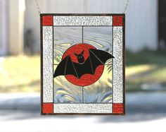 HALLOWEEN BAT features a solitary black bat flying across a bright orange textured glass moon and spooky night sky. The sky is created from a swirled clear Baroque glass which gives movement to the bat in flight. | eBay!