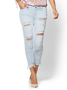 Shop Soho Jeans - Destroyed Boyfriend - Ice Baby Blue Wash. Find your perfect size online at the best price at New York & Company.