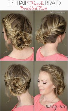 Fishtail french braid and braided bun. fishtail french braid and braided bun bridesmaid braided hairstyles Homecoming Hairstyles, Wedding Hairstyles, Wedding Updo, Princess Hairstyles, Quinceanera Hairstyles, Dinner Hairstyles, Bridesmaid Hairstyles, Holiday Hairstyles, Pretty Hairstyles