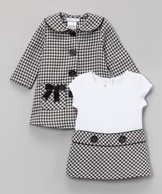 Black Houndstooth Peacoat & Dress - Infant, Toddler & Girls #zulily #zulilyfinds