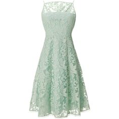 Rental Nanette Lepore Spearmint Alina Dress ($35) ❤ liked on Polyvore featuring dresses, green, green lace cocktail dress, nanette lepore, full lace skirt, lacy dress and sleeveless dress