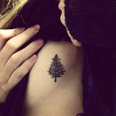 fuckyeahtattoos:  This little pine tree is my first and (so far) only tattoo. It was done by the very funny and friendly Terence at No Regrets in Tallahassee, Florida. I grew up in Wisconsin and this blue spruce pine is a symbol of that.