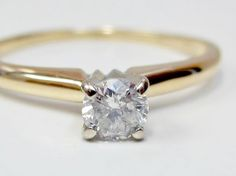 Natural .27 CT Round Solitaire Diamond Engagement Ring 14k Yellow Gold Sz 7.25…