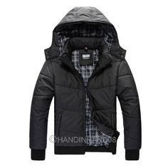 Black Mens Winter Thick Warm Padded Jumper Hooded Jacket Coat Outwear Tops New