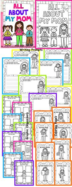 Let's write about MOM! These are graphic organizers and writing pages to write all about mom. Great for a mother's day keepsake or when learning about families. Includes coloring pages of different activities that moms do at home.