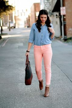 pink pants, blue denim, id add a brown belt