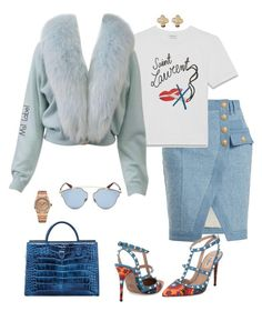 """Baby Blue"" by ms1-ltu on Polyvore featuring Balmain, Van Cleef & Arpels, Yves Saint Laurent, Christian Dior, Audemars Piguet and Valentino"