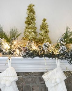 Layer your mantel or have Christmas décor out on tables. This fits that description perfectly, using minimal supplies and time.