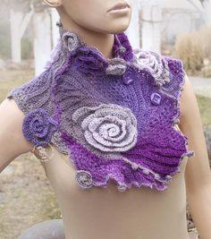 Purple crochet scarf Flower cowl Easter gift Freeform crochet