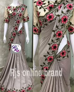 2095 😍only free ship india* *pure georgettte sarees with beatiful thread wrk all over nd saree nd 😍 superb border work* * stiched stylish😍… Elegant Midi Dresses, Elegant Saree, Indian Bridal Outfits, Indian Designer Outfits, Bridal Blouse Designs, Saree Blouse Designs, Fancy Sarees Party Wear, Sarees For Girls, Cotton Saree Designs