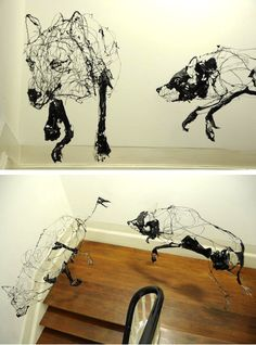 David Oliveira | http://www.thisiscolossal.com/2012/06/scribbled-wire-sculptures-by-david-oliveira/