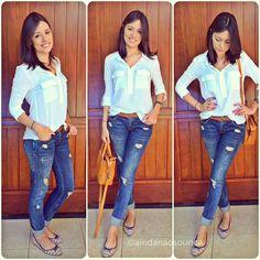 Look da pressa: calça jeans e camisa branca. Acho uma combinação relax, descompromissada, mas, ao mesmo tempo, arrumada e e moderninha né?  Acho que é meu uniforme . calça zara/camisa renner.