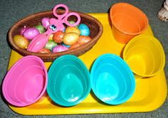 Color Egg Sorting With Tongs