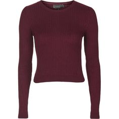 TOPSHOP TALL Travelling Rib Jumper ($36) ❤ liked on Polyvore featuring tops, sweaters, berry red, long sleeve sweaters, long sleeve crop top, long sleeve crop sweater, purple top and red sweater