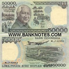 "Indonesia 50000 Rupiah 1998    Obverse: President Soeharto; Development activities; Reverse: Jet plane over Soekarno-Hatta International Airport. Watermark: Wage Rudolf Soepratman (Supratman) - an Indonesian songwriter. He wrote and composed the national anthem of Indonesia - ""Indonesia Raya"" (adopted in 1949)."