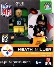 """Heath Miller NFL Oyo Mini Figure Lego Compatible Pittsburgh Steelers by Oyo. $11.95. It comes new in package (NIP).. Oyo Figures measure almost 1 3/4"""" tall.. Compatability: OYOs play nicely with other toys! OYOs are compatible with other name brand building blocks, so your OYOs can become part of your favorite scene.. Each package includes the player, football, helmet and facemask, water bottle, football cap, rectangular stand, and a unique OYO DNA number.. This is the..."""