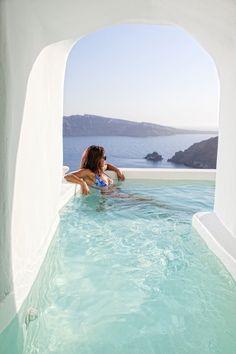 river plunge pool #Santorini
