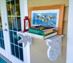 Beach Shelf Decorative Brackets with a Coastal Theme by Island Creek Designs. Would love to display my sea glass collection on these! Seaside Decor, Coastal Decor, Coastal Living, Coastal Cottage, Decorative Brackets, Decorative Trim, Cottage Design, House Design, Cottage Style