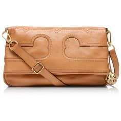 Tory Burch Amalie Foldover Messenger ($435) ❤ liked on Polyvore featuring bags, messenger bags, tory burch, accessories, nutmeg, embroidered bag, leather fold over bag, leather foldover bag, foldover messenger bag and fold over messenger bag