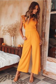 I Hope You Dance Jumpsuit Mustard I Hope You Dance Jumpsuit Mustard - Jumpsuits and Romper Yellow Jumpsuit, Jumpsuit Outfit, Ruffle Jumpsuit, Denim Romper, Casual Jumpsuit, Look Fashion, Fashion Outfits, Womens Fashion, Romper Outfit
