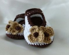 Instant Download Crochet Pattern (pdf file) - CAPPUCCINO baby shoes. Sizes from newborn to 12 months