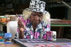 Loongkoonan's work challenges expectations about what international collectors expect of Aboriginal art. She's now 105 years old and about to have an exhibition in New York. Inspiring!
