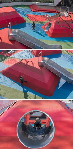This modern kids playground has mountain-shaped play mounds with tunnels, slides and climbing walls. #Playground #Landscaping