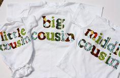 Big / Middle / Little Cousin Shirt Set Choose by roundthebendagain, $74.95