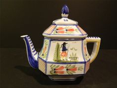 Quimper France Faience Pottery Large Teapot Man Flowers 1968 84 | eBay