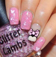 Minnie Mouse Princess: Glitter Topper Nail Polish Lacquer- Indie Nail Polish Custom Handmade- Mickey Mouse Nail Polish