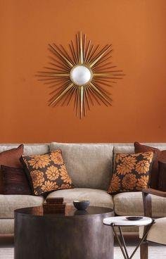 Burnt Orange Paint, Orange Paint Colors, Room Paint Colors, Orange Walls, Paint Colors For Living Room, Orange Color, Rust Color, Orange Painted Rooms, Orange Bathroom Paint