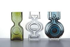'Vanha Kartano' series of glass vases by Helena Tynell Kaappikello, Emma and Aitanlukko. Art Of Glass, Vintage Kitchenware, Glass Ceramic, Glass Design, Scandinavian Design, Vintage Designs, Pottery, Sculpture, Ceramics
