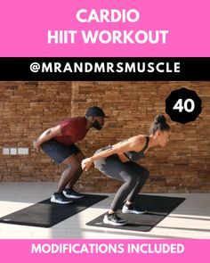 Drive up your heart rate, burn fat and break a huge sweat in this awesome Cardio Workout - Beginner modifications included! --- Drive up your heart rate, burn fat and break a huge sweat in this awesome Cardio Workout - Beginner modifi