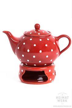 Romantisch-verspieltes Geschenk für SIE - Teekanne rot weiß - rot mit Punkten - polka dots - teapot