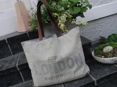 Vintage-Shopper Canvas Tasche Strandtasche Leder von TAGWERK auf DaWanda.com