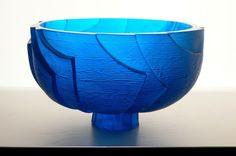 Ann Robinson 'Copper blue Ice Bowl' (cast copper blue Gaffer glass, H235 x W380mm)